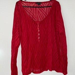 Torrid red zebra print long sleeve shirt